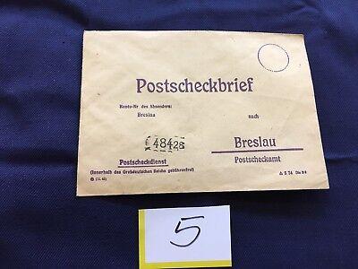 antiker Postscheckbrief Absender Breslau nach Breslau 48428 o. Marke/Stempel (5)