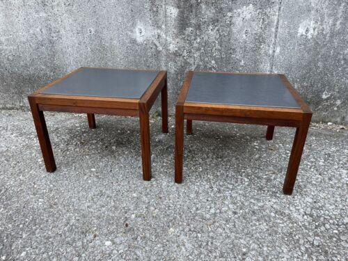 Jack Cartwright For Founders Walnut Slate Side Tables  - $300.00