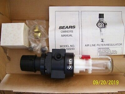 Sears 916023 Air Line Filter Regulator With Gauge 38 5 To 150 Psi