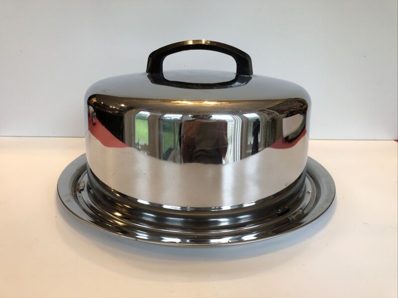 """Vintage Eveready Chrome Cake Carrier 13"""" Locking Cover w/ Handle Bakeware"""