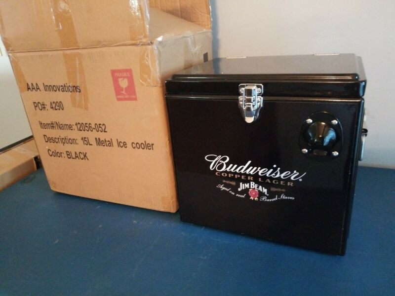 Budweiser beer & jim beam liquor metal cooler ice chest bottles cans new mib
