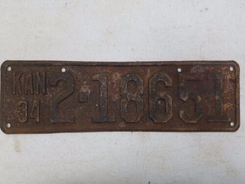 1934 KANSAS Sedgwick County License Plate 2-18651