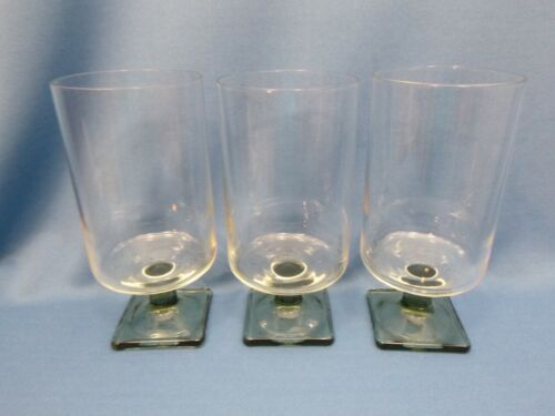 "(3) vtg FEDERAL GLASS - NORDIC MIDNIGHT - Smoke - 6 1/8"" Iced Tea Glass - square"