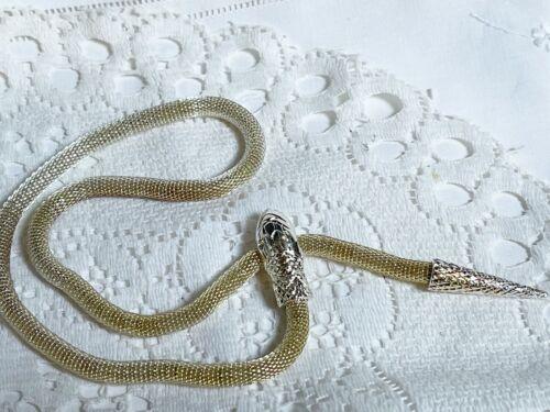 a  vintage silvertone snake serpent mesh necklace