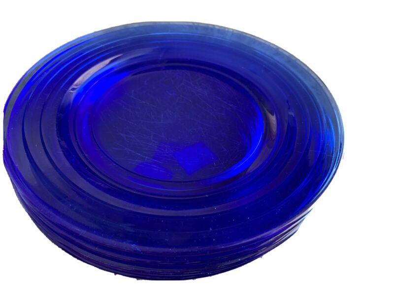 "Vintage Hazel Atlas Moderntone Cobalt Blue 9"" Dinner Plates Lot Of 7"