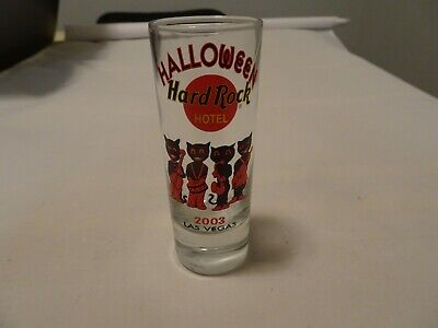 Hard Rock Cafe Las Vegas Hotel Shot Glass city logo Halloween 2003 Cat Version 2](Rock City Halloween)