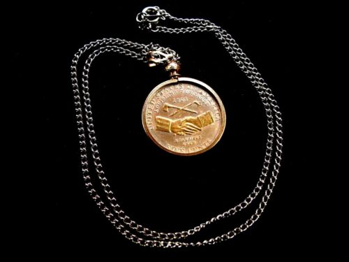 COMMEMORATIVE LOUISIANA PURCHASE NICKEL GOLD AND SILVER EMBOSSED  NECKLACE