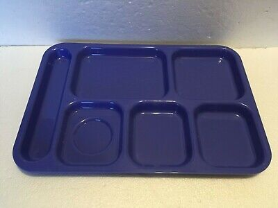 6 x Cafeteria School Lunch Food Tray Divided 6-Compartment 6 Compartment Cafeteria Tray