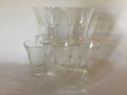 6 Crystal Royal Lace Hazel Atlas Depression Glass 9 Oz. Water Tumblers