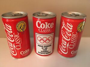 3 Coca-Cola Coke 1988 Cans Olympic Sponsor