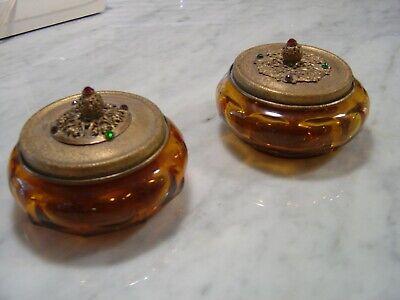 Jeweled Powder Jar Vanity Trinket Holder Amber Glass Metal Lid Lot of 2