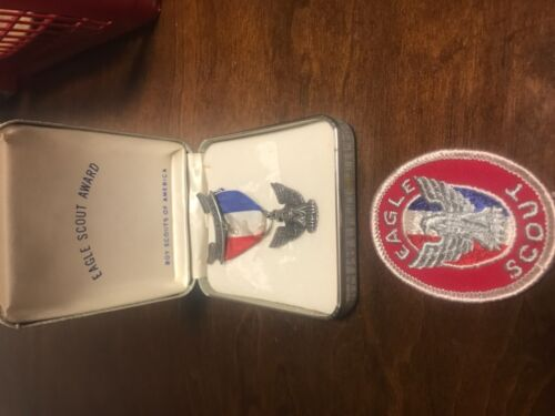 VINTAGE older EAGLE SCOUT Boy Scouts Rank MEDAL Sterling and patch