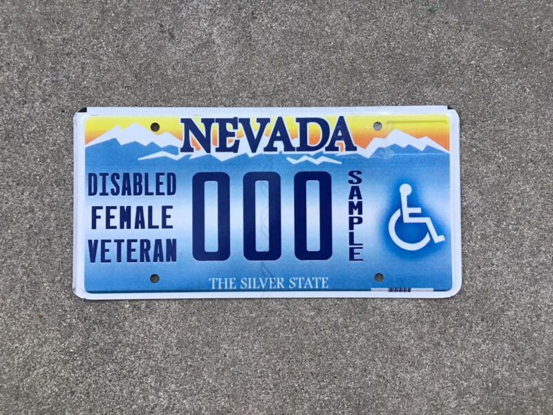 NEVADA - DISABLED FEMALE VETERAN - SAMPLE - LICENSE PLATE