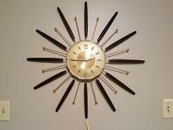 Large Mid Century Modern, Vintage, Retro Metal, Wood Wall Clock 27 Spoke, Burst