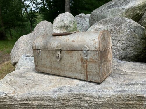 Antique Metal Primitive Rustic Tool Carrier Tool Box Handmade Round Top Old
