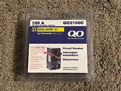 Brand New Square D Qo 100 Amp Two Pole Circuit Breaker - Model Q02100c