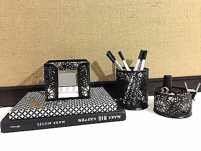 3 Piece Office Supplies Desk Organizer Sticky Note Paper Binder Clip Pen Storage