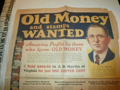 1932 OLD RARE MONEY AD NUMISMATIC COMPANY OF TEXAS B MAX MEHL