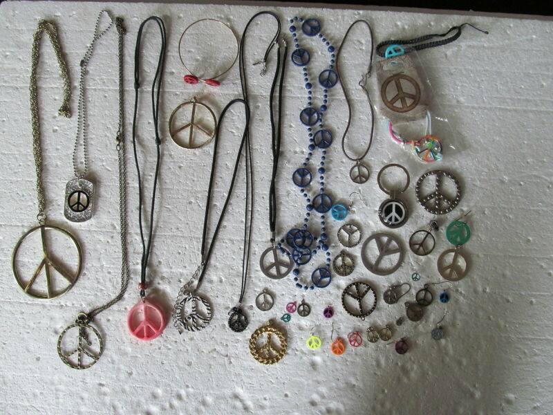 Fabulous Lot Of 42 Assorted Peace Symbol Jewelry Of All Kinds Vintage & Modern