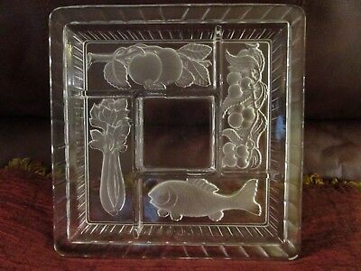 Glass Divided Relish Tray Plate Dish Indiana Glass Intaglio Clear/Frosted  L@@K!
