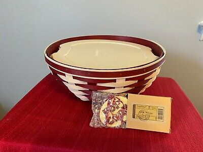 """Longaberger Rare 12"""" Red and White Popcorn Bowl Basket, Lidded Protector and Tie"""