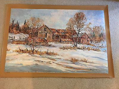 AUTHENTIC ARTAGRAPH OIL PAINTING JANUARY QUIET BY MARY LAPMAN SIGNED 238/1000 - $45.00