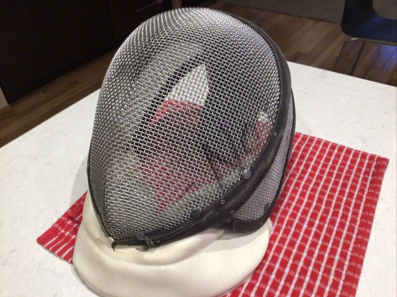 Vintage Fencing Mask Castello Full Face Foil Sword Fighting Helmet w Neck Guard