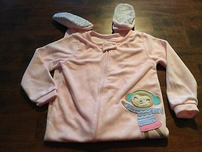 Carter's 4T pink girls winter monkey fleece footed pajamas
