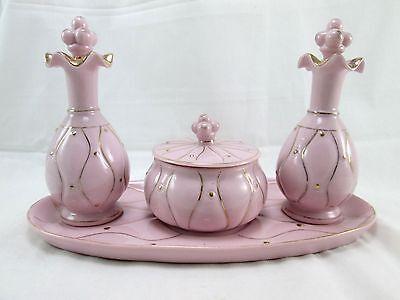 Vintage VANITY SET Pink & Gold Dresser Perfume Bottles Trinket Box Tray Japan