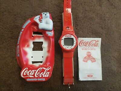 COCA-COLA ANIMATED 1998 POLAR WORLD COKE WATCH TRENDMASTERS FREE SHIPPING