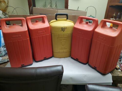 Coleman red and yellow lantern carry cases