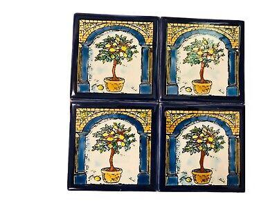 Vintage Tiles / Handpainted Tiles Set Of 4 10cm / Spanich Tiles 4 Lemon Tree