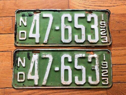1923 North Dakota License Plate Pair