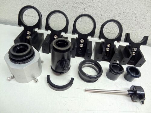 LOT OF ASSORTED OPTICAL PRECISION ATTACHMENTS, HOLDERS, LENSES, ETC LASER LAB