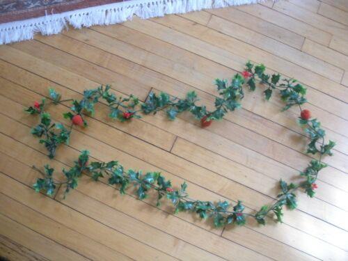 vintage plastic Christmas garland holly berry flocked fruit  8 feet
