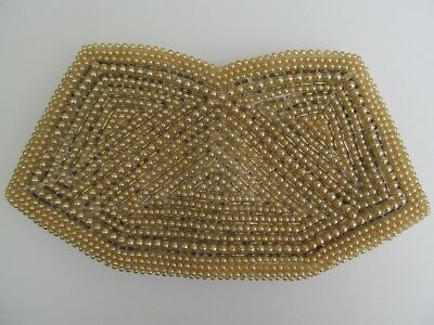 1950s Handbags, Purses, and Evening Bag Styles Clutch Evening Bag Faux Pearl Grey Bead Champagne Colour Zipper Japan 1950s Vtg  $12.95 AT vintagedancer.com