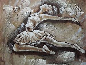 quadro su parete marrone olio su tela : su Quadro Dipinto Olio Su Tela Ballerina Balletto Astratto Marrone ...