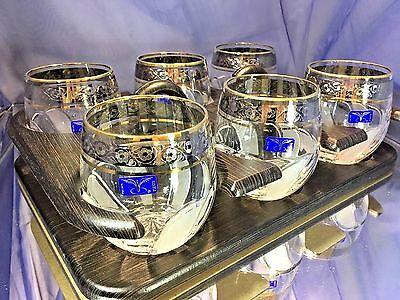 Crystal Glass Set of 6 Rocks 10 oz Whisky  Cognac Gold Platinum Rimmed Russian