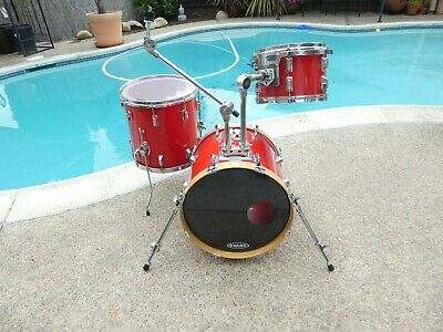 Pearl Bop Drum Set Red Lacquer finish 3 piece with tom and cymbal holder