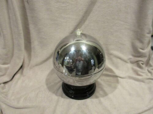 ART DECO LIQUOR DISPENSER SET CHROME GLOBE DISPENSER AND 6 GLASSES