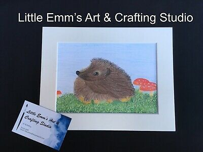 Hedgehog Wildlife Pastel Sketch With Cream Mount.