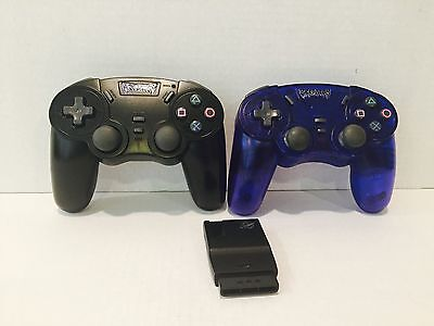 "Pelican Predator Wireless controllers Black And Blue ""Only One Receiver"" For PS2"
