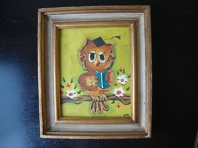 Vintage Original Taiwan Oil Painting ~ Professor Owl ~ Signed Wood Frame 1970s