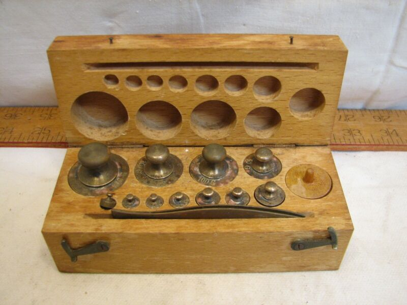 Eimer & Amend Brass Apothecary Pharmaceutical Scale Gold Weights Tool w/Wood Box