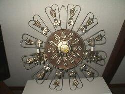 Large Sunburst Zodiac Wall Clock w/  Lighted Bobeche Arms,& Crystals MCM
