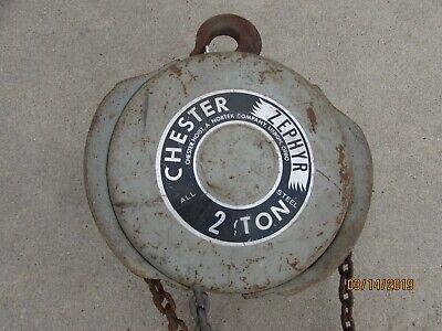 Vintage Antique Chain Fall Hoist Chester Zephyr 2 Ton Military Grade Mil-spec