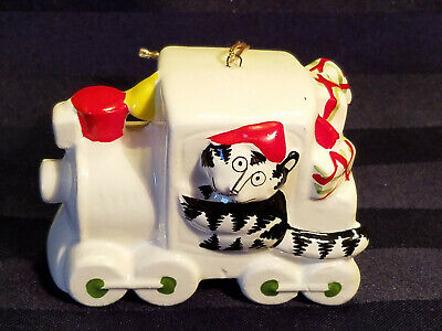 Rare Signed Vintage Kliban Cat in Train Christmas Ornament 1981