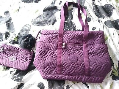 """Kipling """"Aliza""""  Quilted Style Tote /Shoulder-bag with Zipped  Pouch-  Plum"""