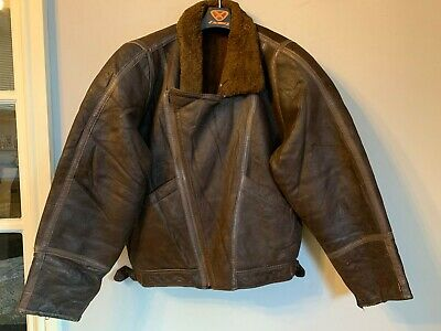 VINTAGE DISTRESSED LEATHER SHEEPSKIN AVIATOR JACKET SIZE S CLASSIC CAR CYCLIST