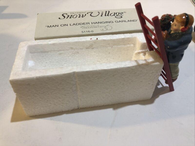 Dept 56 Snow Village MAN ON LADDER HANGING GARLAND  Accessory In Box 5116-0